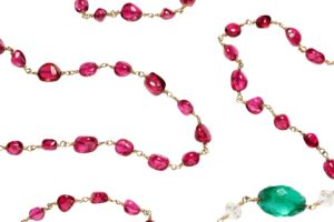 Spinel-rosary chain necklace